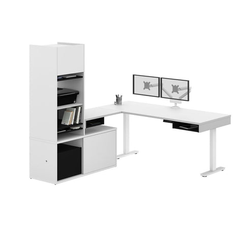 Bestar Pro-Vega 81W L-Shaped Standing Desk with Credenza, Hutch, and Dual Monitor Arm in white & black
