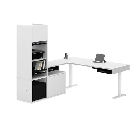 Bestar Pro-Vega 81W L-Shaped Standing Desk with Credenza and Hutch in white & black