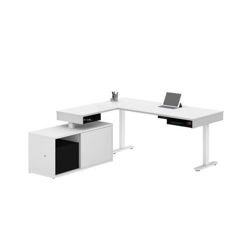 Bestar Pro-Vega 81W L-Shaped Standing Desk with Credenza in white & black