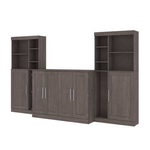"Bestar Pur 133W Full Cabinet Bed with Mattress, two 36"" Storage Units, and 2 Hutches in bark grey"
