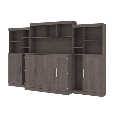 "Bestar Pur 133W Full Cabinet Bed with Mattress, two 36"" Storage Units, and 3 Hutches in bark grey"