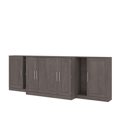 "Bestar Pur 133W Full Cabinet Bed with Mattress and two 36"" Storage Units in bark grey"