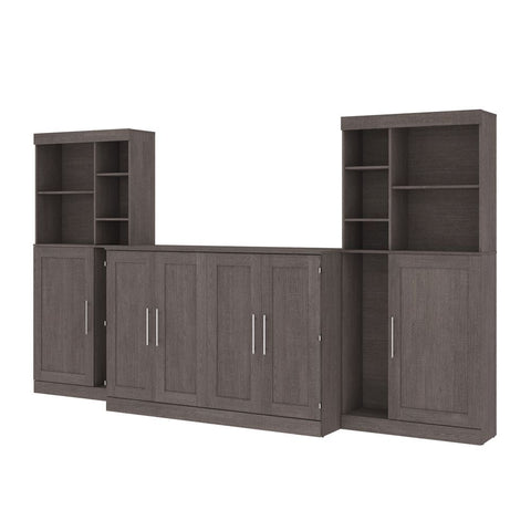 "Bestar Pur 139W Queen Cabinet Bed with Mattress, two 36"" Storage Units, and 2 Hutches in bark grey"