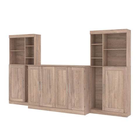 "Bestar Pur 139W Queen Cabinet Bed with Mattress, two 36"" Storage Units, and 2 Hutches in rustic brown"