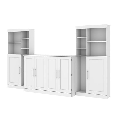 "Bestar Pur 139W Queen Cabinet Bed with Mattress, two 36"" Storage Units, and 2 Hutches in white"