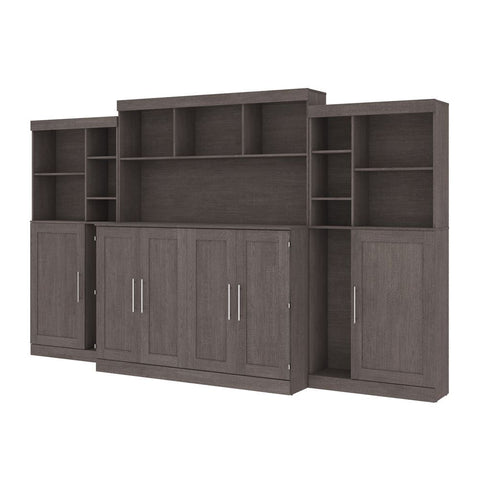 "Bestar Pur 139W Queen Cabinet Bed with Mattress, two 36"" Storage Units, and 3 Hutches in bark grey"