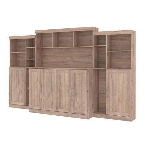 "Bestar Pur 139W Queen Cabinet Bed with Mattress, two 36"" Storage Units, and 3 Hutches in rustic brown"