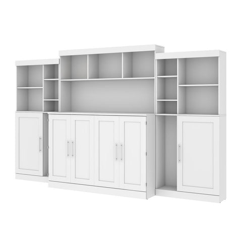 "Bestar Pur 139W Queen Cabinet Bed with Mattress, two 36"" Storage Units, and 3 Hutches in white"