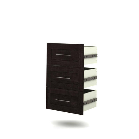 Bestar Pur 3-Drawer Set for 25 Inch Storage Unit in Bark Gray