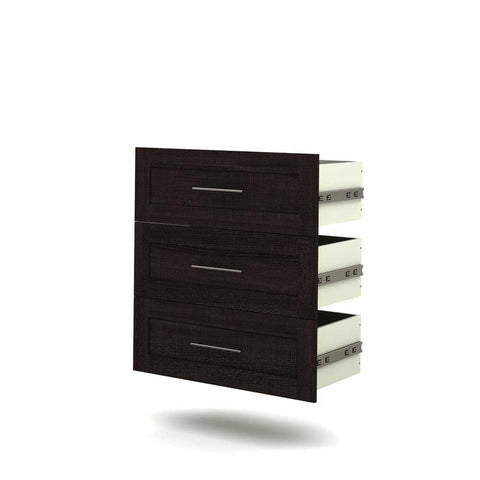 Bestar Pur 3-Drawer Set for 36 Inch Storage Unit in Bark Gray