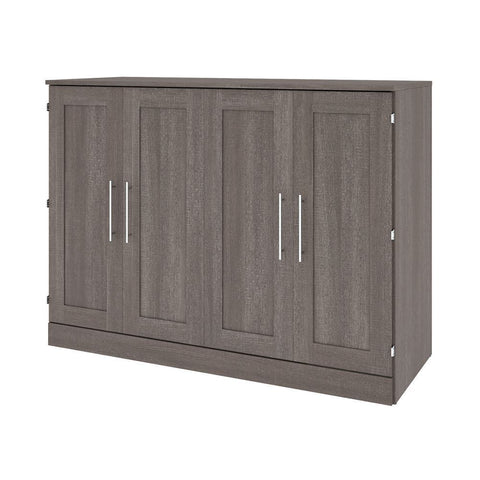 Bestar Pur 61W Full Cabinet Bed with Mattress in bark grey