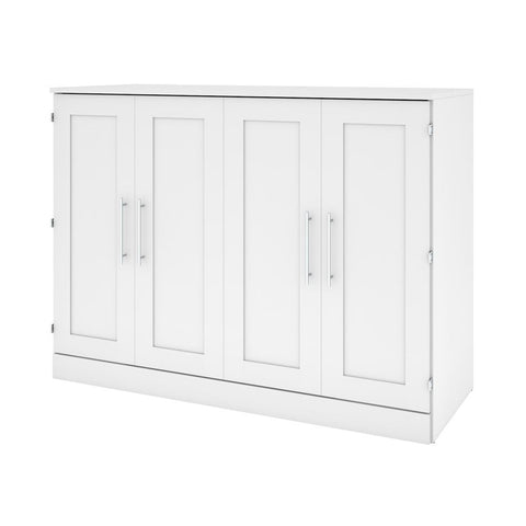 Bestar Pur 61W Full Cabinet Bed with Mattress in white