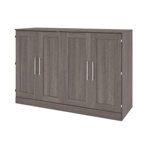 Bestar Pur 67W 66W Queen Cabinet Bed with Mattress in bark grey