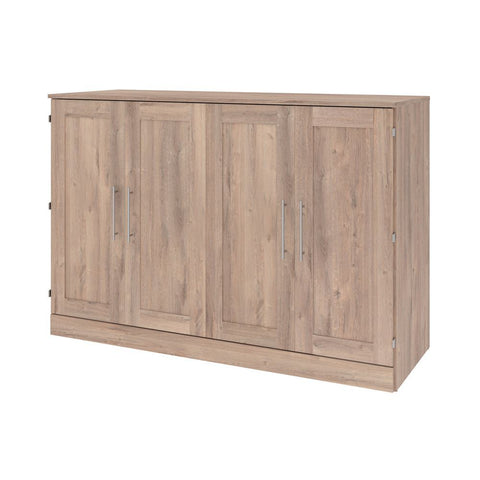 Bestar Pur 67W 66W Queen Cabinet Bed with Mattress in rustic brown