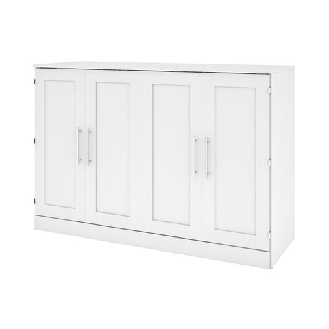 Bestar Pur 67W 66W Queen Cabinet Bed with Mattress in white
