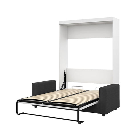 Bestar Pur 73W Full Murphy Bed and a Sofa in white