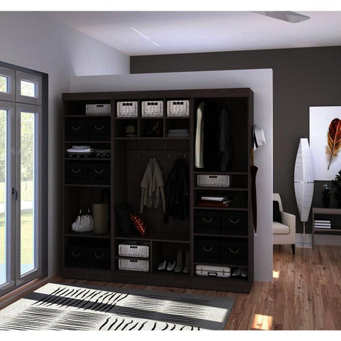 Bestar Pur 86 Inch Mudroom Kit in Bark Gray