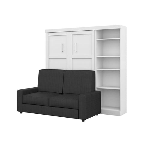 "Bestar Pur 90W Full Murphy Bed, a Storage Unit and a Sofa (84"") in white"