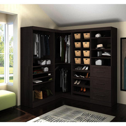 Bestar Pur Corner Storage Kit in Bark Gray