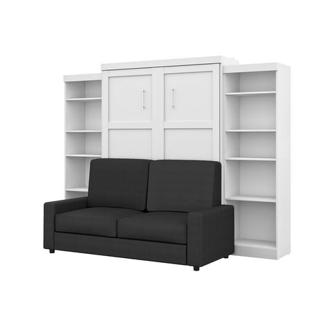 "Bestar Pur Queen Murphy Bed, Two Storage Units and a Sofa (115"") in white"