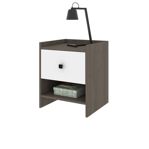 Bestar Sirah 19W Nightstand in bark grey & white