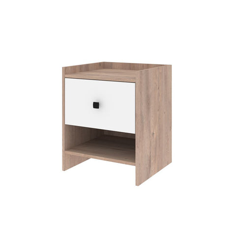 Bestar Sirah 19W Nightstand in rustic brown & white
