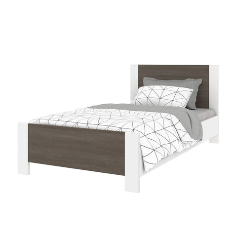 Bestar Sirah 42W Twin Platform Bed in bark grey & white