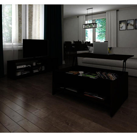 Bestar Small Space 2-Piece Lift-Top Storage Coffee Table & TV Stand Set in Dark Chocolate & Black