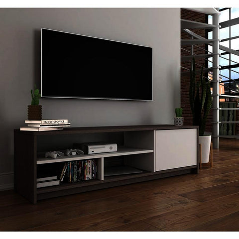 Bestar Small Space 53.5 Inch TV Stand in Bark Gray & White