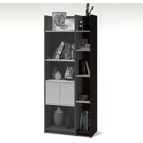 Bestar Small Space 9.5 Inch Add-on Storage Tower in Bark Gray & White