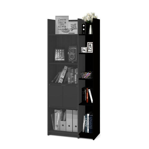 Bestar Small Space 9.5 Inch Add-on Storage Tower in Dark Chocolate & Black