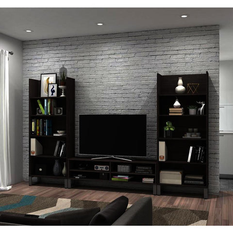 Bestar Solay 3-Piece Entertainment Unit Set in Bark Gray