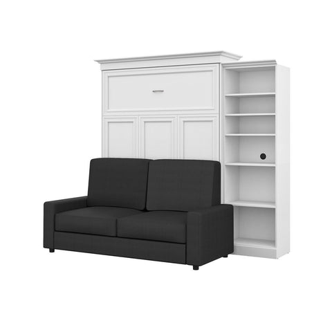 Bestar Versatile 99W Queen Murphy Bed, a Storage Unit and a Sofa in white