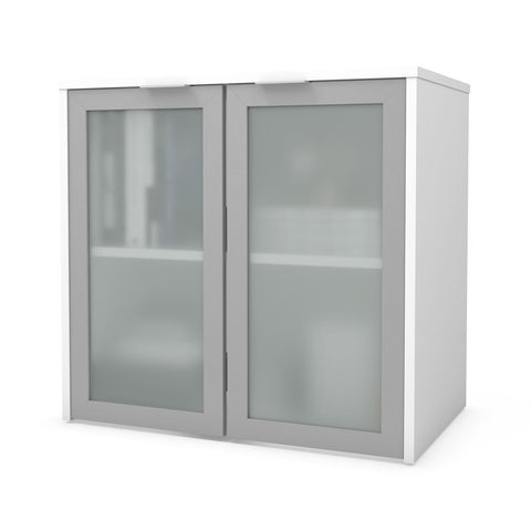 Bestar i3 Plus 31W Hutch with Frosted Glass Doors in white
