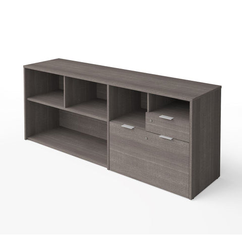 Bestar i3 Plus 72W Credenza with 2 Drawers in bark grey