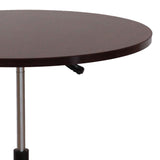 Boss Chairs 32 Inch Mobile Round Table in Mahogany