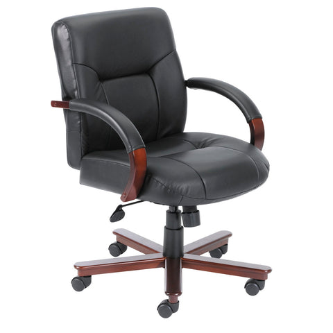 Boss Chairs Boss Executive Leather Mid Back Chair w/ Mahogany Finished Wood