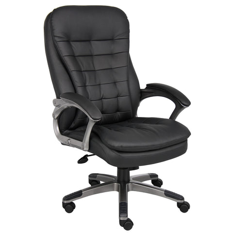 Boss Chairs Boss High Back Executive Chair w/ Pewter Finished Base/Arms