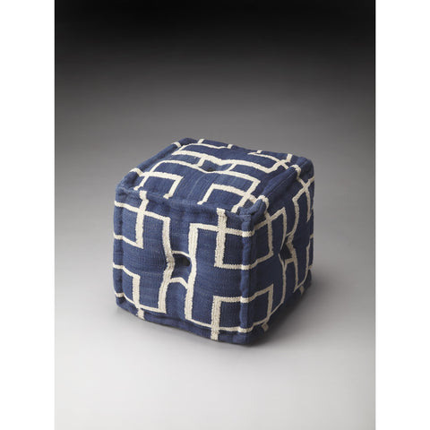 Butler Accent Seating Berkeley Pouffe In Blue Cotton