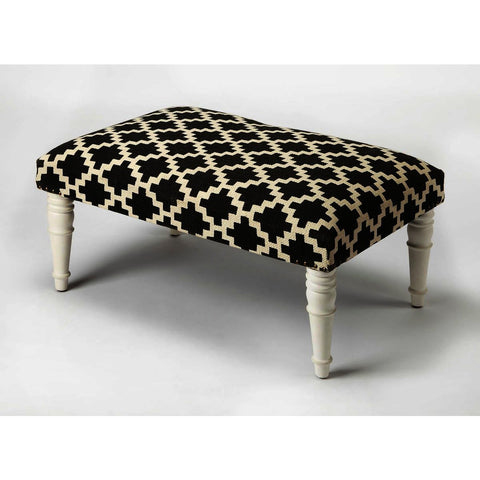 Butler Accent Seating Lucinda Black & White Upholstered Cocktail Ottoman