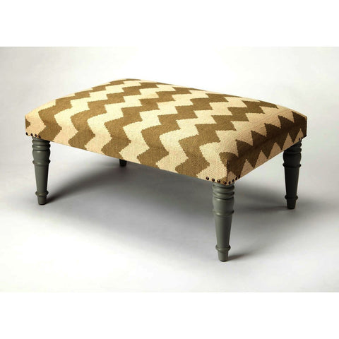 Butler Accent Seating Lucinda Zig Zag Upholstered Cocktail Ottoman
