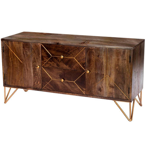 Butler Alda Wood & Brass Metal Inlay Entertainment Console