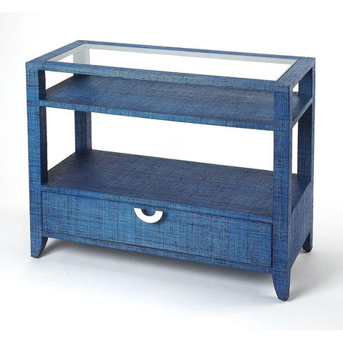 Butler Amelle Blue Raffia Console Table