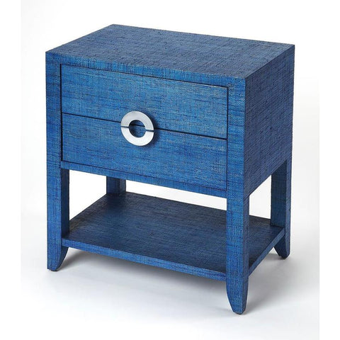 Butler Amelle Blue Raffia End Table