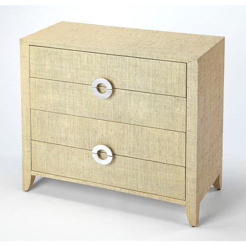 Butler Amelle Cream Raffia 4 Drawer Accent Chest