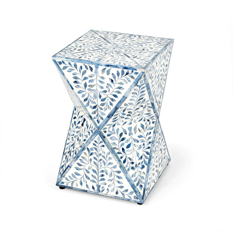 Butler Anais White and Blue Bone Inlay End Table