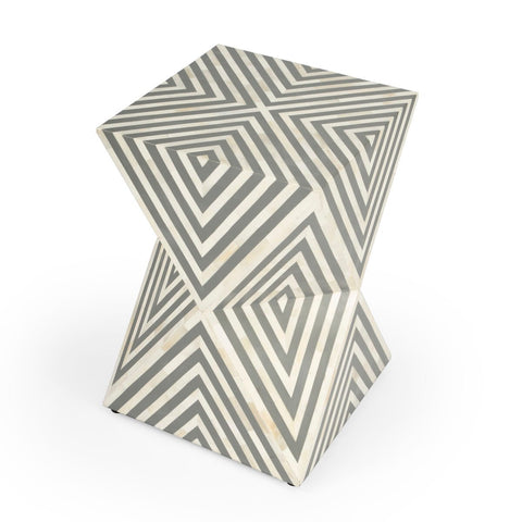 Butler Anais White and Grey Bone Inlay End Table
