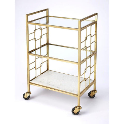 Butler Arcadia Polished Gold Bar Cart