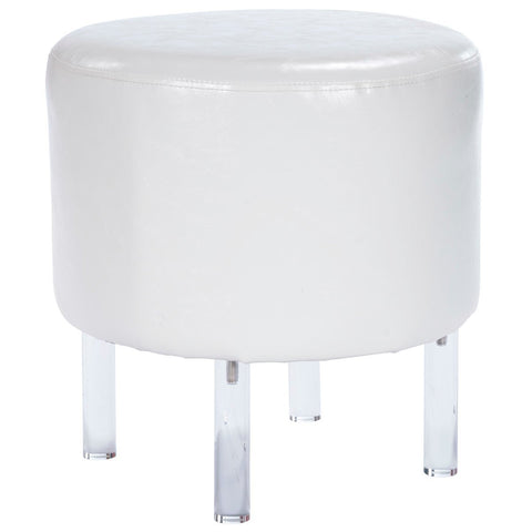 Butler Borrego White Faux Leather & Acrylic Ottoman