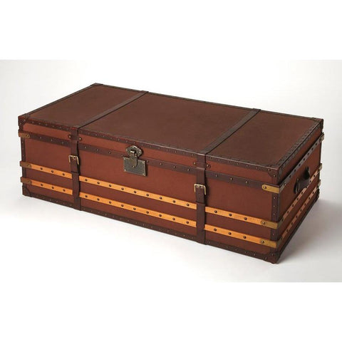 Butler Brinson Brown Leather Storage Trunk